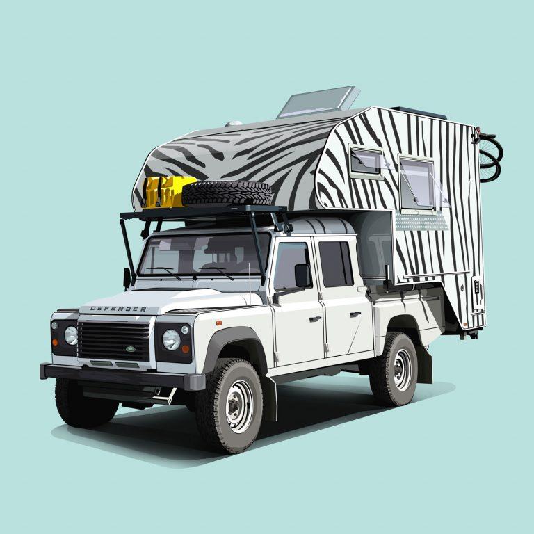 Offroad-Cars-Landrover-Defender-130-Zebra