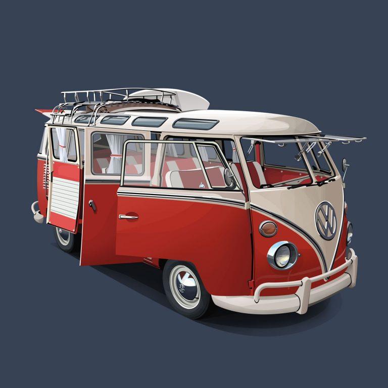 Vanlife-Volkswagen-T1-Samba-Rot